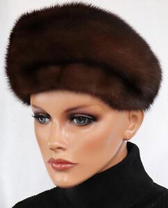 Mink Hat Fur Hat Vintage Women's Fashion 70er Fur Chocolate Braun