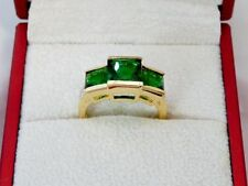 Emerald Yellow Gold Filled Three-Stone Costume Rings