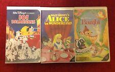Lot Black Diamond Classic Disney VHS 101 Dalmatians Alice in Wonderland Bambi