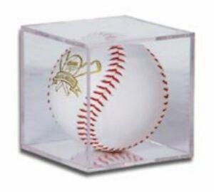 Lot of 12 BallQube Clear Softball Holders plastic cubes displays protectors
