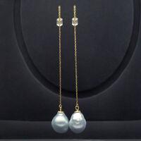 Silver South Sea Pearl Long Drop Earrings Dangle 18K Yellow Gold Threader 9-11mm