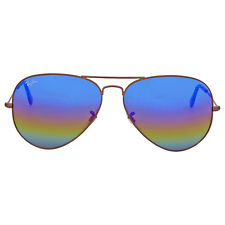 Ray Ban Blue Rainbow Flash Aviator Sunglasses