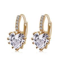 Wonderful jewelry 18K gold filled heart cubic zirconia hoop earrings