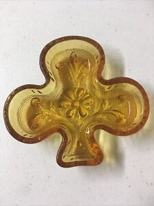 Vintage Amber Molded Glass Clover Shaped Trinket Dish