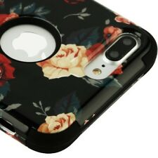 FOR IPHONE 8 PLUS/7 PLUS BLACK WHITE FLOWER TUFF SHOCKPROOF 3-PIECE CASE COVER