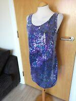 Ladies WALLIS Dress Size 14 PETITE Mini Purple Sequin Smart Party Evening