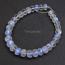 90.2CT Gem Grade Rainbow Moonstone Smooth Rondelle Beads 6.8 inch Strand