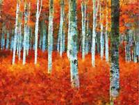 NATURE PAINTING FOREST SILVER BIRCH RED AUTUMN POSTER ART PRINT BB137B