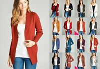 NEW WOMEN LONG SLEEVE OPEN FRONT CARDIGAN SWEATER POCKETS SOLID S M L XL 1X 2X
