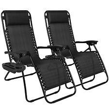 Folding Lounge Chair Seat Zero Gravity Relax Outdoor Summer Beach Yard 2 PK Set