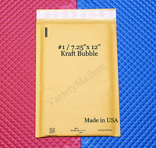 "25 KRAFT BUBBLE POSTAL MAILING PADDED ENVELOPES #1  7.25""x 12""  MADE IN THE USA"