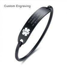 7.5 inch Black Medical Alert ID Name Bracelet Cuff Bangle Personalized Engraving