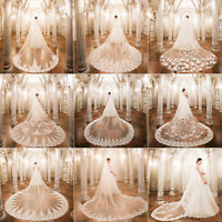 White Cathedral Train Long Appliques Tulle Wedding Bridal Veil Bride Headdress