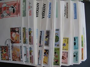 lot of 80+ Walt Disney Cartoons First Day Covers -Mickey Mouse Donald Duck FDC