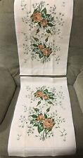 Vintage JA Briggs hand towel pair peach floral cotton made in USA Rabo 1987