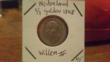 Netherlands 1848 silver 1/2 Gulden Willem II coin.