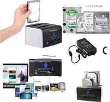 All-In-1 2.5/3.5 inch Dual USB 3.0 SATA HDD Docking Station Hub Card Reader