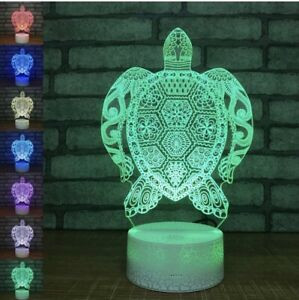 3D Nightlight Turtle Creative 3D Visualization Lamp Touch-Switch LED