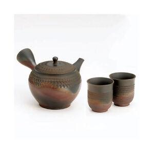 Tokoname kyusu - GYOKO (400cc/ml) 1pot & 2yunomi ceramic mesh - Japanese teapot