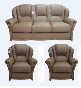 Pisa 3 Seater+Chair+Chair Italian Leather Three Piece Sofa Suite Bark Brown