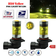 Pair H10 9145 LED Fog Lamp 100W 4300K Yellow Projector Driving 1200LM Bulbs