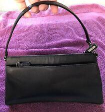 COACH Small Black Handbag With Leather Trim On Bottom/sides of Purse M1J-7407