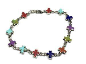 "Vintage Southwest Sterling Silver Multi Stone Religious Cross 7.75"" Bracelet"