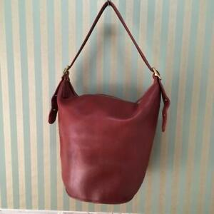 COACH Vintage Duffle Feed Sac Leather Shoulder Bucket Bag Red 9085 USA