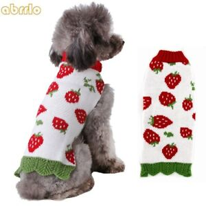 Christmas Pet Dog Sweater Jacket Strawberry Knit Jumper Puppy Cat Coat Costumes