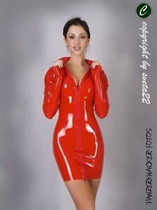 Latex KLEID - Minikleid in ROT mit Vorderzipper - versch. Größen wählbar