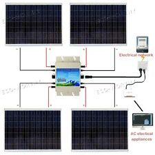 NEW 1000W Solar System 250W Solar Panel & 1200W Grid Tie Power Inverter for Camp