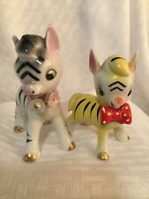 Vintage Baby Nursery Zebra Filly And Baby Porcelain Figurines Japan