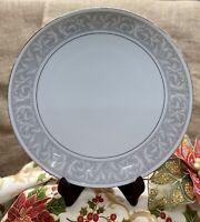 "Imperial China Whitney 12"" Round Platter Chop Plate W Dalton Japan White Silver"