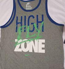 "Men's NIKE XL Gray ""HIGH FLY ZONE"" Regular Fit Training Tank Top Shirt 644365"