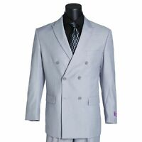 VINCI Men's Light Gray Double Breasted 6 Button Classic Fit Suit NEW