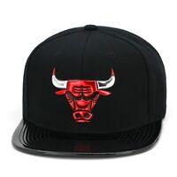 Mitchell & Ness Chicago Bulls Snapback Hat Cap Black/Black/Red Patent Leather