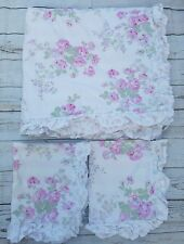 Simply Shabby Chic White Essex Floral Duvet Queen 2 Shams Pink Roses Stripes