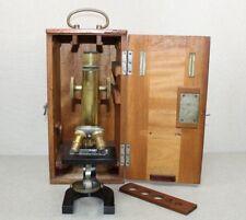 Antique C. Reichert Wien No.45080 Microscope W/ 3 Lenses & E.Leitz Wetzlar Box