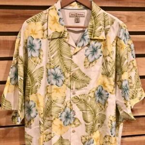 Mens Tommy Bahama Silk Floral Print Aloha Hawaiian Camp Resort Shirt XL