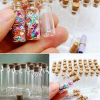 10x Niedlichen Mini Glasflaschen mit Korken Wishing Flasche Phiolen Jars 10x28mm