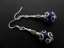 A PAIR OF DANGLY  PURPLE JADE BEAD EARRINGS WITH 925 SOLID SILVER HOOKS. NEW..