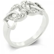 14K White Gold GB Linked Hearts Simulated Diamond Size 5 Promise Ring G83