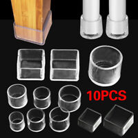 10pcs Chair Table Leg Cap Floor Protector Rubber Foot Cover Round Clear Bottom
