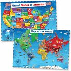 United States & World Map Poster for Kids - 2 Pc - 24 x 18 Inch Laminated USA