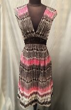 Ladies Monsoon Beaded Pink Brown Kaftan Dress UK8 EUR36