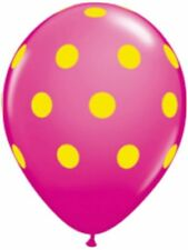 "10pc 11"" Qualatex Big Polka Dot Wild Berry Yellow Latex Balloon Party Decoration"