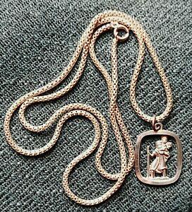 Silver Georg Jensen St.Christopher Pendant  & 26 inch  Sterling Box Chain