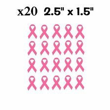"""x20 Breast Cancer Ribbons Pink Awareness Pack Vinyl Decal Stickers 2.5"""" x 1.5"""""""