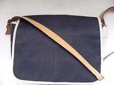 Coach~Navy Canvas, Brown & White Leather Messenger Bag Laptop/Diaper Bag