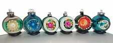 6 Vtg Mercury Glass Christmas Ornaments w/ Indents 5 West Germany 1 Shiny Brite